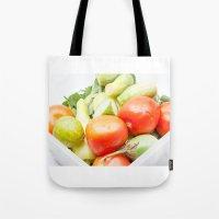 vegetables Tote Bags featuring vegetables by Marcel Derweduwen