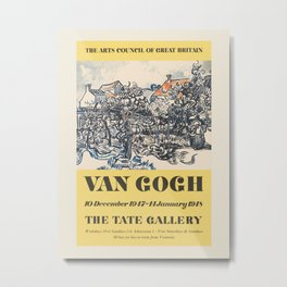 Vincent van Gogh. Exhibition poster for The Tate Gallery in London, 1948. Metal Print