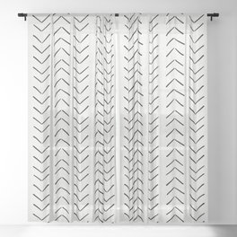 Mud Cloth Big Arrows in Cream Sheer Curtain