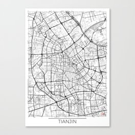 Tianjin Map White Canvas Print