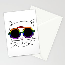 Cat Rainbow Sunglasses Stationery Cards