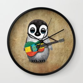 Baby Penguin Playing Ethiopian Flag Acoustic Guitar Wall Clock