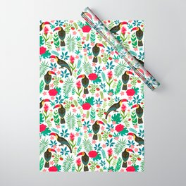 Decorative pattern with toucans, tropical flowers and leaves Wrapping Paper