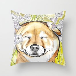 Jay Jay the happy Shiba Throw Pillow