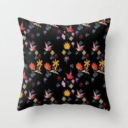 Dark Floral Garden Throw Pillow