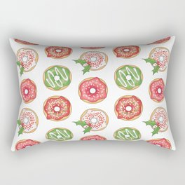 Christmas Donuts Red and Green Pattern Rectangular Pillow