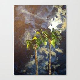 Palm Springs Night Palm Tress Canvas Print