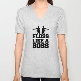 Floss Dance Black Boss Unisex V-Neck