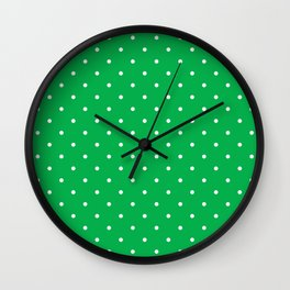 Small White Polka Dots with Green Background Wall Clock