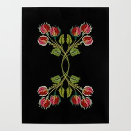 Embroidered Scandi Flowers Poster