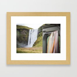 Room with a view, Skogafoss waterfall in Iceland - nature landscape Framed Art Print