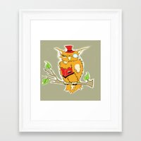 steam punk Framed Art Prints featuring Steam Punk Owl by J&C Creations