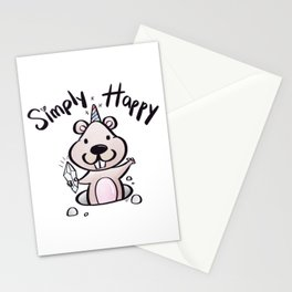 Simply Happy Groundhog Stationery Cards