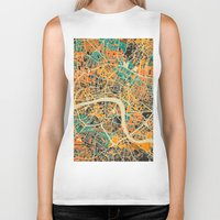 london map Biker Tanks featuring London Mosaic Map #3 by Map Map Maps