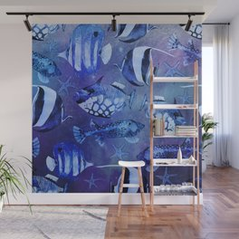 Watercolor fish pattern dark blue Wall Mural