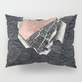 Modern Torn Paper Heart and Rose Gold Marble Pillow Sham