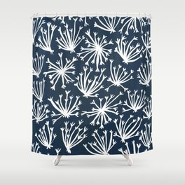 Queen Anne's Lace – White on Navy Shower Curtain