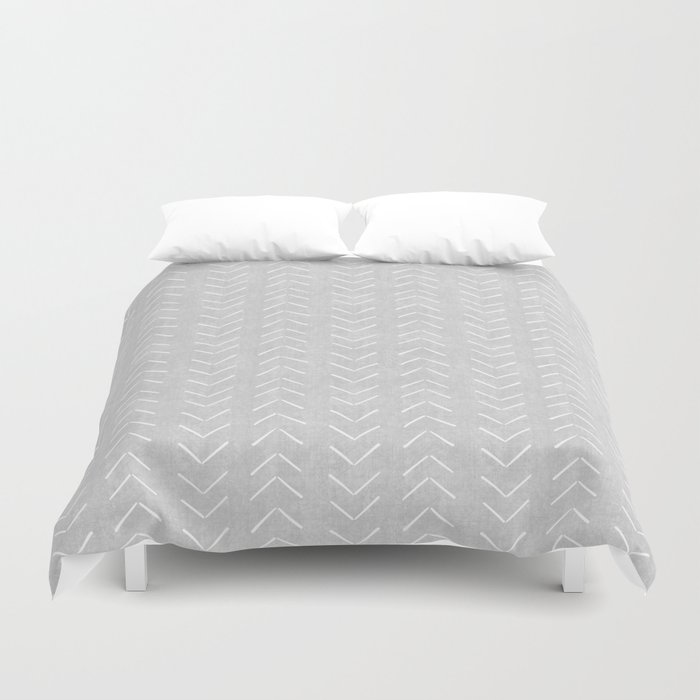 Mudcloth Big Arrows in Grey Duvet Cover