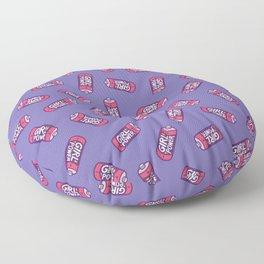 Girl Power Pattern in Purple Floor Pillow