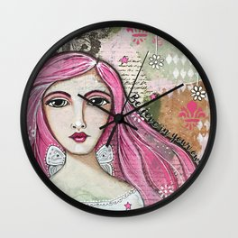 Believe in Your Own Magic Mixed Media Fairy Girl Wall Clock