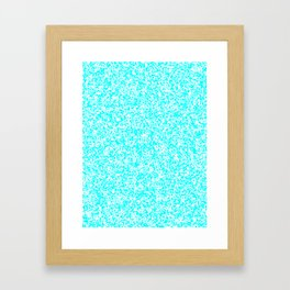 Tiny Spots - White and Aqua Cyan Framed Art Print