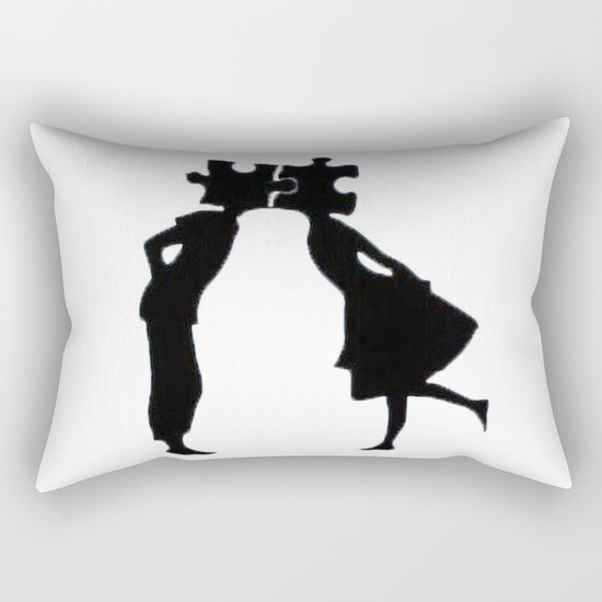 Puzzle Woman Man Rectangular Pillow