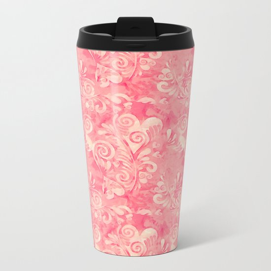 Cute watercolor pink hearts pattern Metal Travel Mug