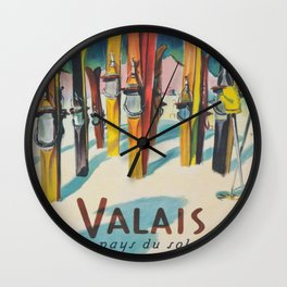 Valais Vintage Ski Travel Poster Wall Clock