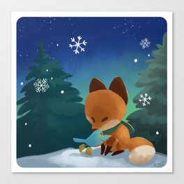 Fox & Boots - Winter Hug Canvas Print