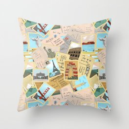 Vintage Postcards Throw Pillow