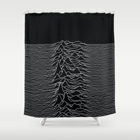 alisa burke Shower Curtains featuring Unknown Radio Waves - Unknown Pleasures by Alisa Galitsyna