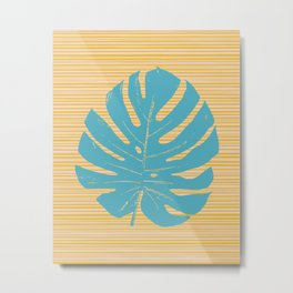 Monstera in Turquoise and Gold Metal Print