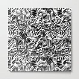 Minimalist Black And White Pattern Metal Print
