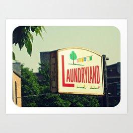 Laundryland ~ Chicago vintage sign Art Print