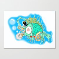 steam punk Canvas Prints featuring Whimsical Steam Punk Fish by J&C Creations
