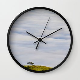 Mid Century Modern Round Circle Photo Graphic Design Green Hill In The Sky Wall Clock