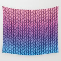 knit Wall Tapestries featuring Chunky Knit Pattern in Pink, Blue & Purple by micklyn