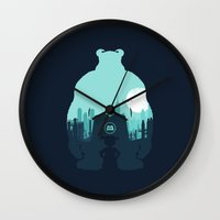 monsters inc Wall Clocks featuring Welcome To Monsters, Inc. by filiskun