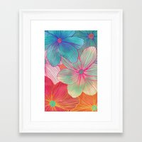 orange Framed Art Prints featuring Between the Lines - tropical flowers in pink, orange, blue & mint by micklyn