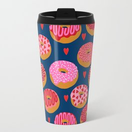 Pink and Red donuts hearts love valentines day cute gifts for foodie Travel Mug