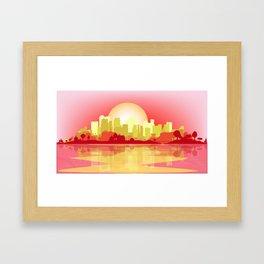 City At The Dusk Framed Art Print