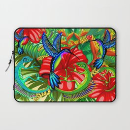 The Lizard, The Hummingbird and The Hibiscus Laptop Sleeve