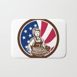 American Female Organic Farmer USA Flag Icon Bath Mat