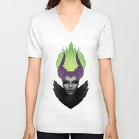 maleficent V-neck T-shirts featuring Maleficent by clayscence