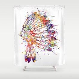 Native American Headdress Art Indian Headdress Gift Colorful Watercolor Artwork Shower Curtain