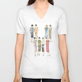 Vintage Flapper Fashion Dress Patterns Unisex V-Neck