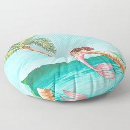 Mermaid on a Palm Tree Floor Pillow