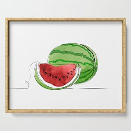 Watermelon One Line Color Serving Tray