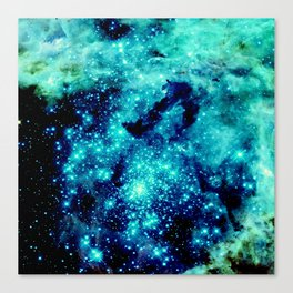 GALAXY. Teal Aqua Stars Canvas Print