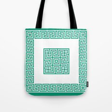 Greek Key emerald Tote Bag